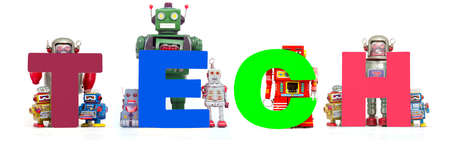 retro tin robot toys hold up the word  TECH isolated on white