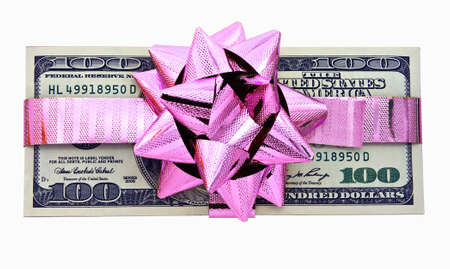 one hundred dollars gift wraped with a pink ribbon isolated on white