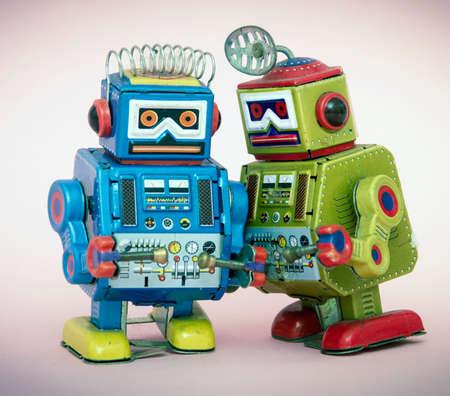 two little robots share some gossip  macro image Stock fotó - 105475856