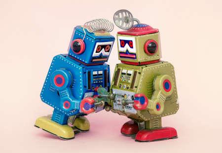 two little robots share some gossip  macro image Stock fotó - 105475857