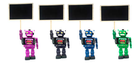 four protester; robots on white