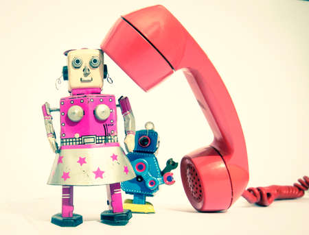 robots on the phone  close up  toned image Stock fotó - 112265977