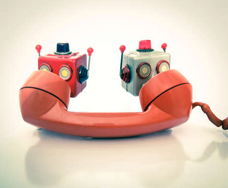 vintage phone oan chat bot heads toned image