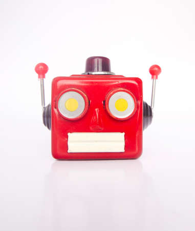 little red robot head isolated on white