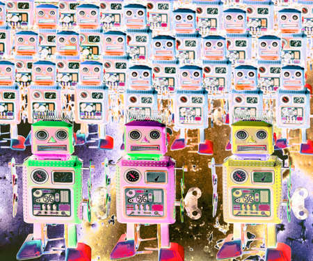 surrealistic robot toys  Marching forward  abstract image