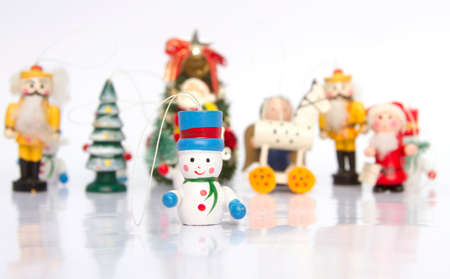old wooden Chrismass toys with reflection