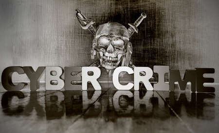 CYBER CRIME with wooden letters an a dark skull solarized monochrome