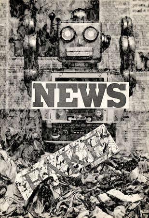 silver robot fake news concept image  close up  solarized monochrome toned Imagens