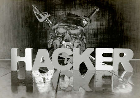 the word HACKER with reflection  solarized monochrom image Imagens