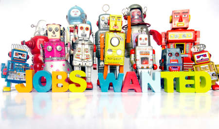 a large team of retro robots with the word JOBS WANTED on a bright white background
