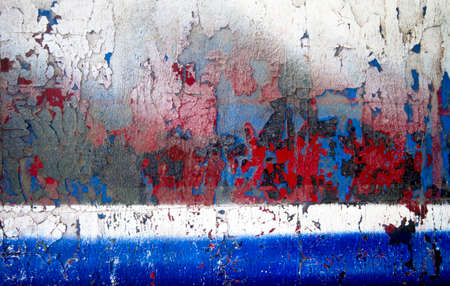 old wood texture red blue and white flaking paint Imagens