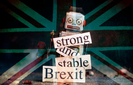 Brexit fail concept with retro  robot