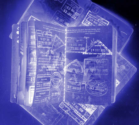 Abstract passport image open passports from above Imagens - 117349131