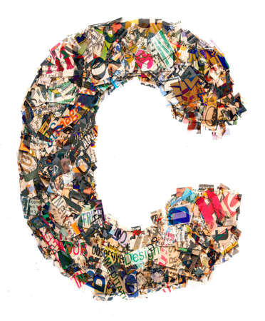 The letter C  made from newspaper and magazine cutting