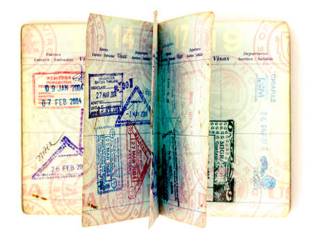 old open passport taken from above  toned image