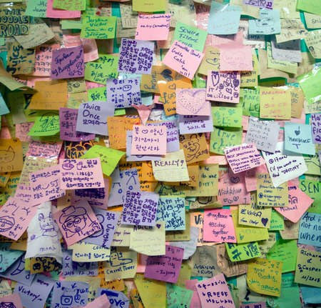 random post it stickers on a wall