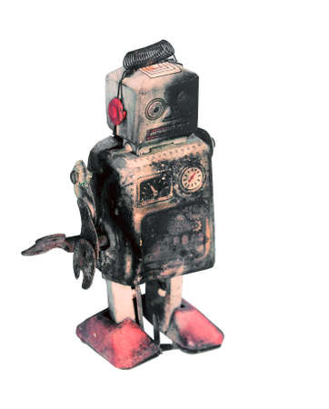 unhappy and beaten robot  isolated on white