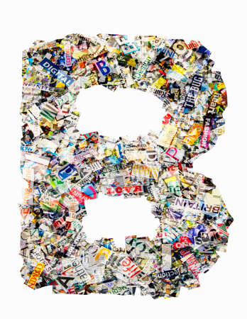 The letter B made from newspaper confetti