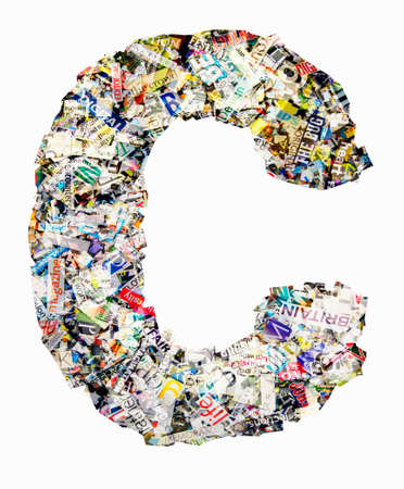 The letter C  made from newspaper confetti
