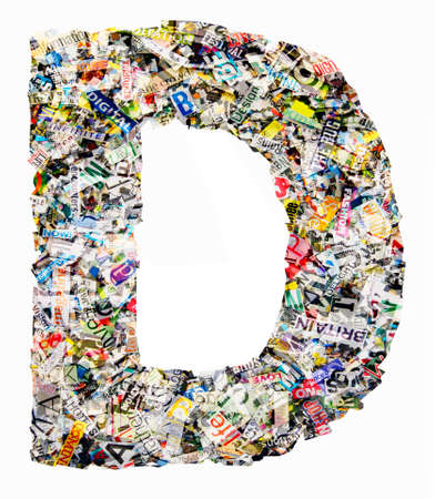 The letter D  made from newspaper confetti