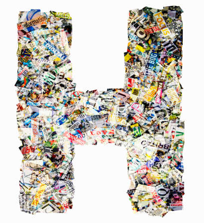 The letter H  made from newspaper confetti Imagens