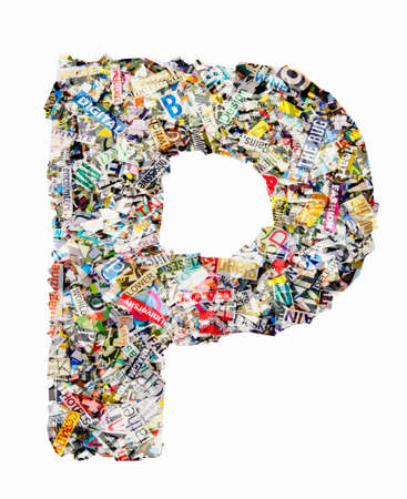 The letter P  made from newspaper confetti Imagens