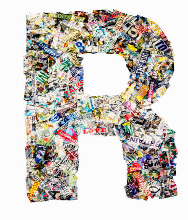The letter R  made from newspaper confetti