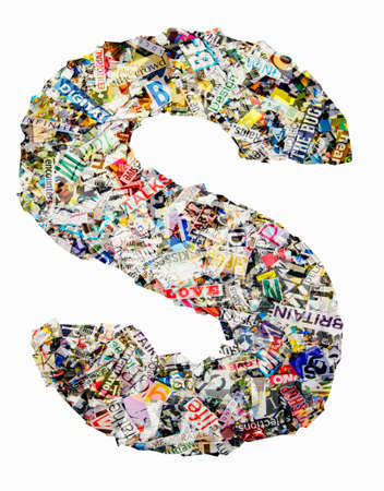 The letter  S made from newspaper confetti Imagens