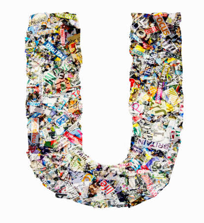The letter  U  made from newspaper confetti