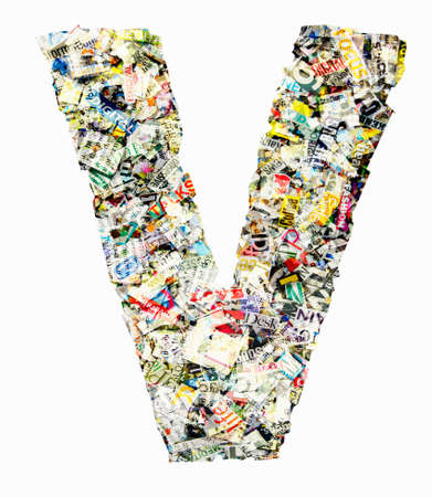 The letter  V made from newspaper confetti Imagens - 117349184
