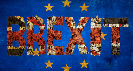 BREXIT word and EU flag image