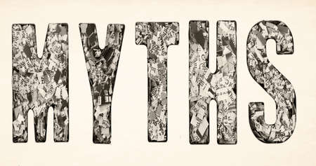 the word  MYTHS made up of lots of cut up newspaper  isolated Imagens - 120353637