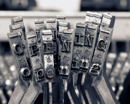 the opening   writing with old typwriter keys  monochrome Imagens - 120353665