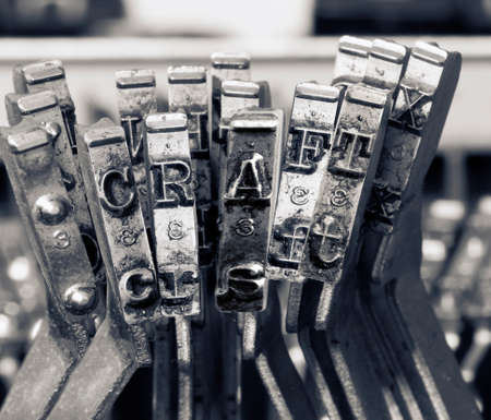 the word   CRAFT  with old typwriter keys  monochrome Фото со стока