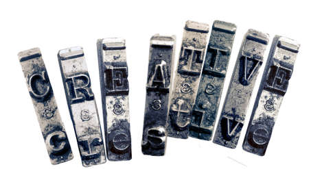 the word   CREATIVE  with old typwriter keys  monochrome Imagens - 120353670