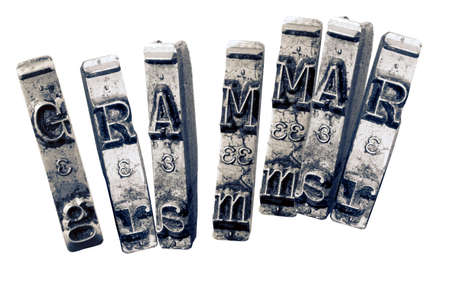the word GRAMMER  with old typwriter keys  monochrome Imagens - 120353712