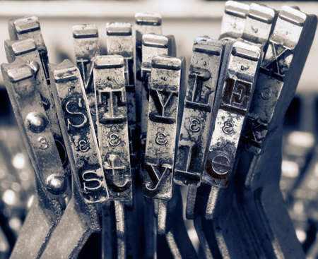 the word style  with old typwriter keys  monochrome