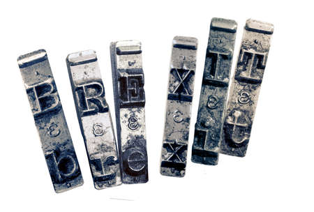 the word BREXIT with old typwriter keys monochrome isolated