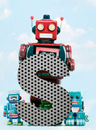 retro robots holding a big metal letter S with blue sky and clouds