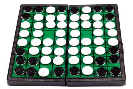 Black and White Othello Flips on White Background Isolated Stock Photo
