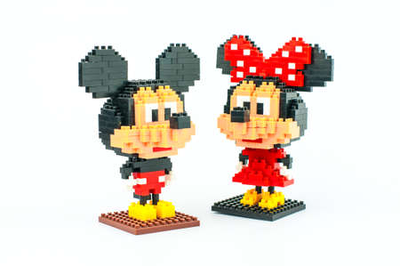 BANGKOK, THAILAND - MAY 12, 2017 : Mickey and Minnie Mouse Micro Blocks in Isolated White Background