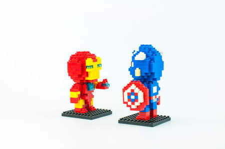 BANGKOK, THAILAND - MAY 12, 2017 : MARVEL AVENGER CIVIL WAR IRONMAN and CAPTAIN AMERICA  Micro Blocks in Isolated White Background Editorial