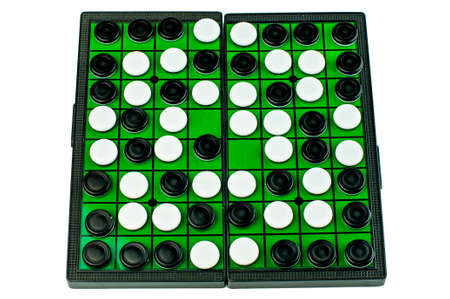 Black and White Othellos on Green Grid Othello Board Isolated
