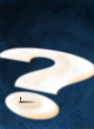 A man walking in a big question