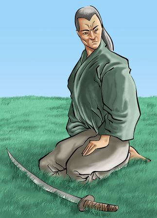 a samurai in a big grass field with his sword Stock Photo - 841273