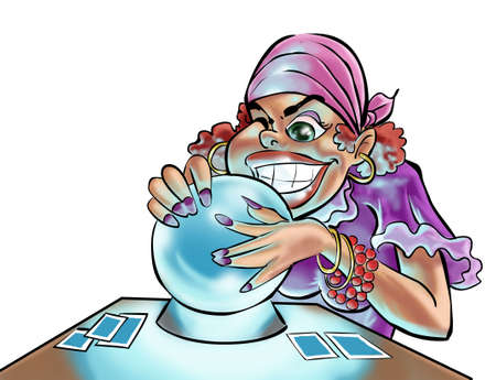 parapsychology: a gypsy woman looking in the crystal ball