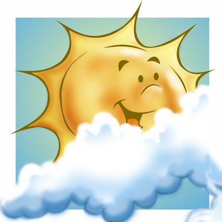 Sun, smilling, with clouds