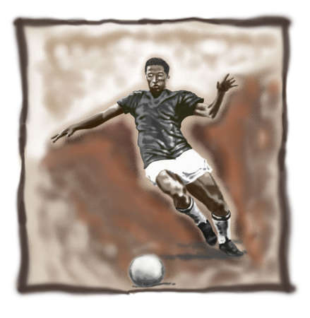 footwork: classic football player Stock Photo