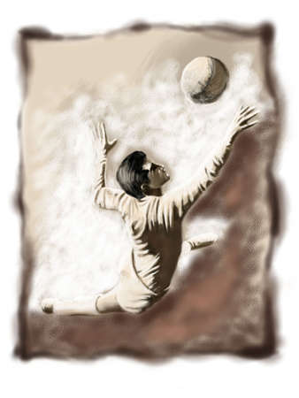 footwork: Keeper jumping to the ball Stock Photo
