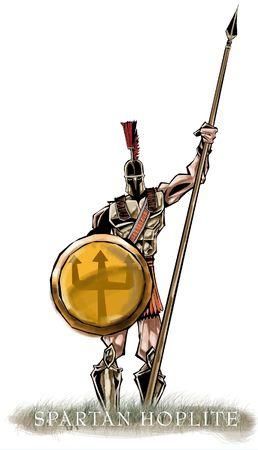 ESCUDO: Hoplite espartano que sostiene su lanza Foto de archivo